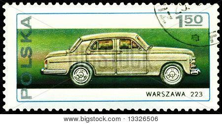 Vintage Postage Stamp. Old Car Warszawa 223.