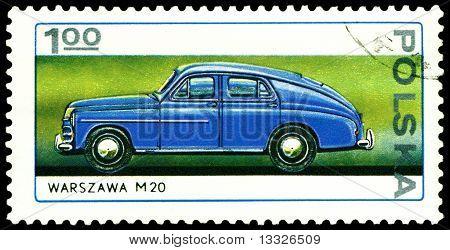 Vintage Postage Stamp. Old Car Warszawa M - 20.