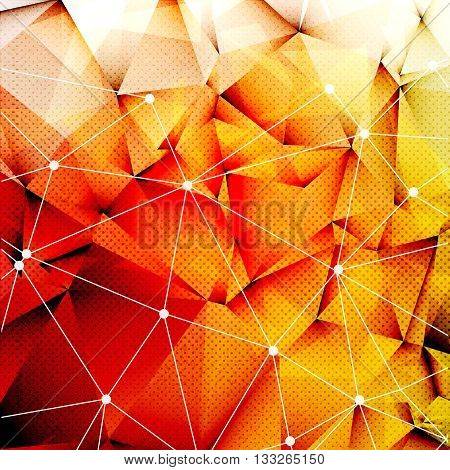 Polygonal Red Orange Triangles Techno Textured Background with connection of lines and dots, Vector Illustration