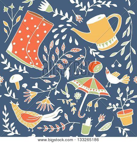 Doodle summer garden, cute floral seamless pattern