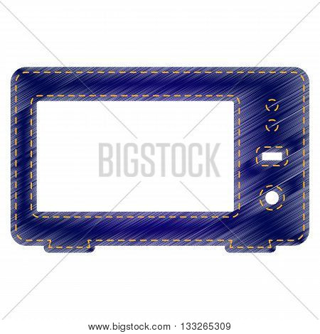 Microwave sign illustration. Jeans style icon on white background.