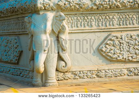 The Royal Palace In  Phnom Penh, Cambodia.a Fragment Of Decoration With The Image Of An Elephant