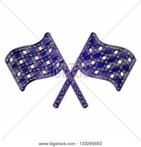 Crossed checkered flags logo waving in the wind conceptual of motor sport. Jeans style icon on white background.