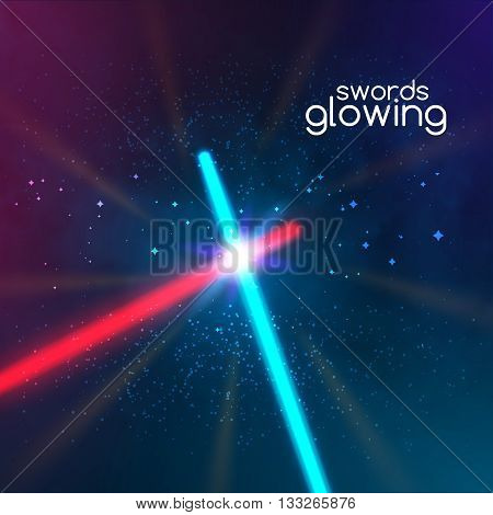 Crossed light swords on black background. Weapon futuristic from star war. Realistic bright laser halogen beams set. Vector illustration, design elements for your projects