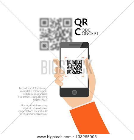 QR code scanning with mobile phone. Capture QR code on mobile phone. Symbol scanning QR code. Concept recognition QR code.