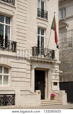 London United Kingdom - June 5th 2016: The Embassy of The Republic of The Sudan to the United Kingdom. Located at 3 Cleveland Row London.