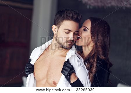 Sexy milf woman undress macho man lover indoor