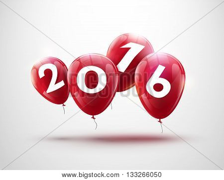 Sample greeting card 2016 Christmas card with realistic balloons and numbers. Image Printer, stocks, greetings, e-mail, Web. Vector illustration.