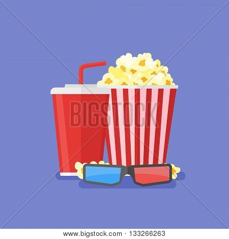 Popcorn, soda takeaway and 3d cinema glasses. Cinema design in flat style, Vector illustration.
