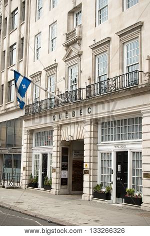 London United Kingdom - June 5th 2016: The Government of Quebec's office in London. Located at 59 Pall Mall.