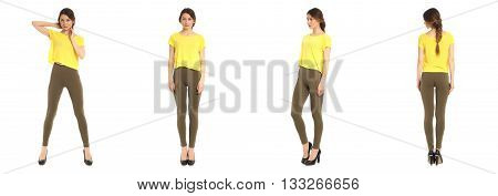 Young And Beautiful Student In Green Leggins Isolated
