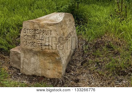 Indicative stone sign in Royal Natal National Park in Drakensberg, South Africa
