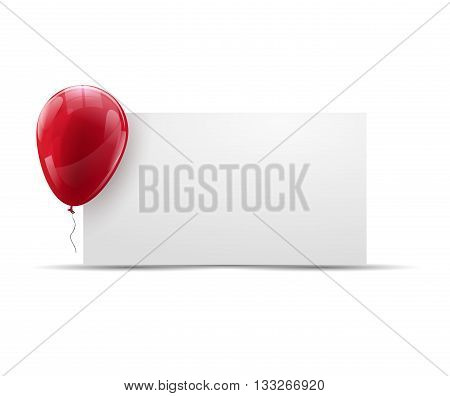 Holiday, Advertising Banner background with ed Ballon. Happy Birthday background with banner and balloon.