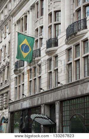 London United Kingdom - June 5th 2016: The Brazilian embassy in London located at 14/16 Coskspur Street.