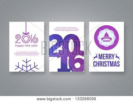 Happy new year 2016 and Merry Christmas vector lilac modern brochure design template with numbers. Set of Postcard, invitation. Vector illustration