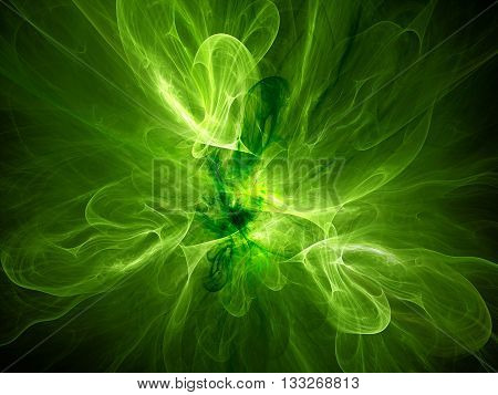 Green glowing plasma curves in space computer generated abstract background