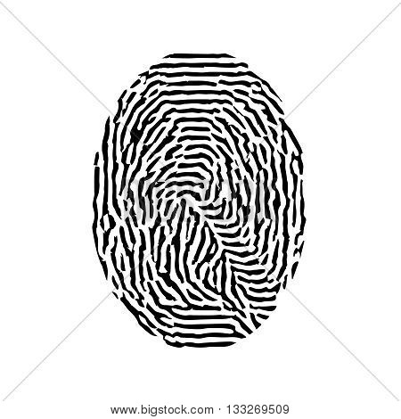 Fingerprint. Vector black isolated fingerprint on white background.