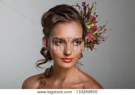 Tender Beauty Portrait Of Bride With Roses Wreath In Hair