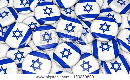 Israel flag on pin badges 3d illustration background image for national Israeli day events holiday memorial and celebration.