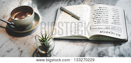Coffee Shop Break Relaxation Book Planning Working Concept
