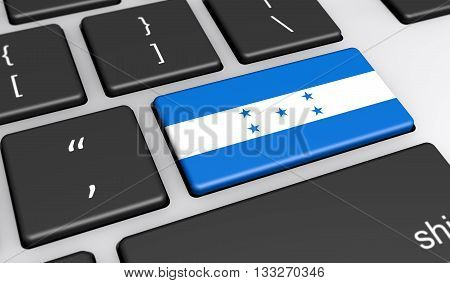 Honduras digitalization and networking concept with Honduras flag on a computer keyboard 3D illustration.