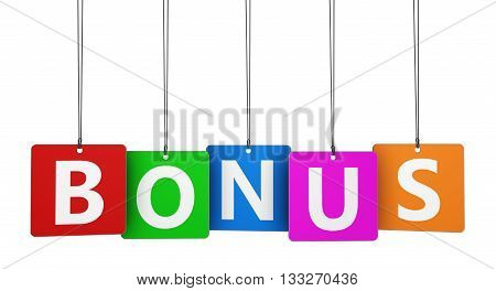 Bonus sign and word concept on colorful paper tags 3D illustration isolated on white.