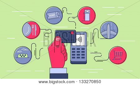 Contactless payment using credit card. NFC technology. Payment for goods and services. Infographic style outline illustration.