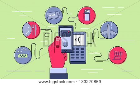 Contactless payment using mobile phone. NFC technology. Payment for goods and services. Infographic style outline illustration.