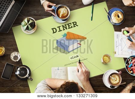 Diner Cook Book Meal Preparation Concept