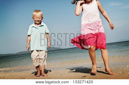 Kids Child Children Cheerful Sibling Sister Brother Concept