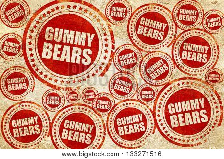 gummy bears, red stamp on a grunge paper texture