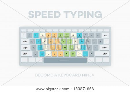 Speed typing. Become a Keyboard Ninja. Teaching vector illustration how to improve your typing speed.