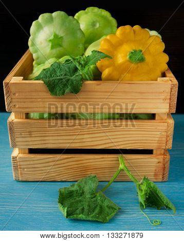 fresh natural pumpkin squash in a box