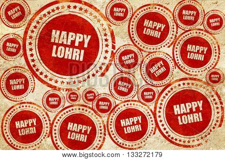 happy lohri, red stamp on a grunge paper texture