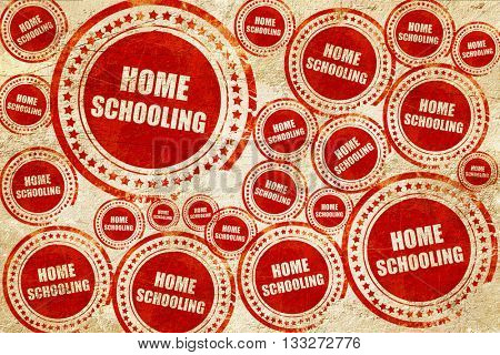 homeschooling, red stamp on a grunge paper texture
