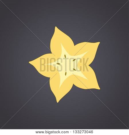 Carambola star fruit slice on a black background