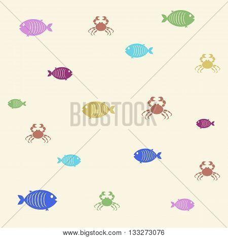 pattern of colored fish on a vanilla background