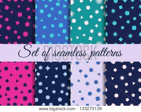 Seamless Geometric Pattern. Geometric Chaos. Wrapping Paper. Set Seamless Pattern With Geometric Fig