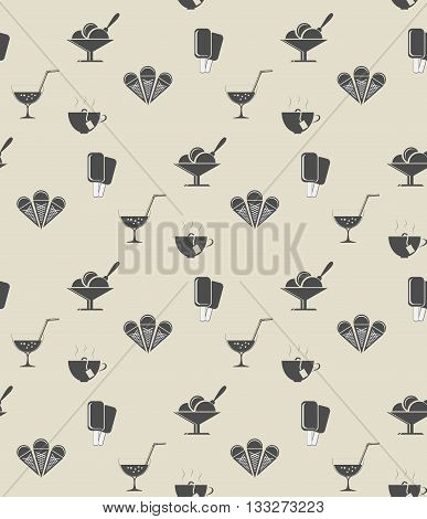 pattern with food items for tablecloths in vintage style