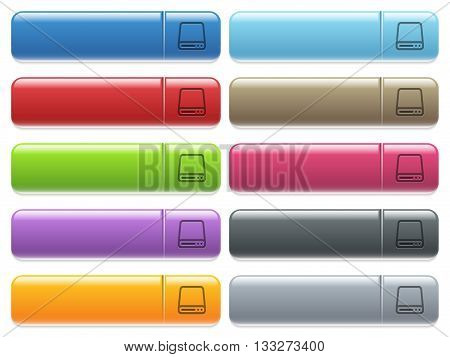 Set of Hard disk drive glossy color menu buttons with engraved icons