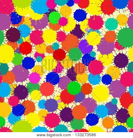 Vector Color Ink Blots Seamless Background. Pattern in swatches panel.