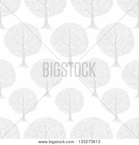 Seamless pattern with graphic illustration of trees forest. Can be used for wallpaper pattern fills web page background surface textures textile print wrapping paper
