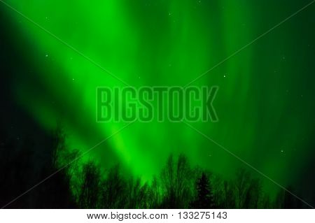 An aurora fills the sky with wave like bands of green light.