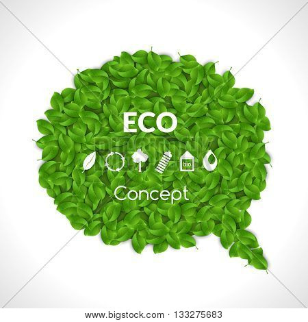 Eco Friendly Bubble for speech, Green leaves. Set of eco icons. Vector illustration