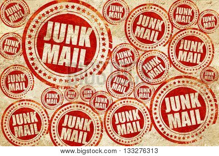 junk mail, red stamp on a grunge paper texture