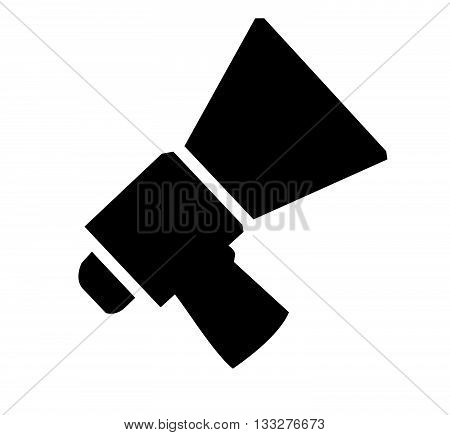 Vector icon illustration of black and white megaphone