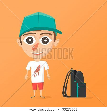 Happy schoolboy. Vector cartoon illustration. Isolated background. Boy and rucksack