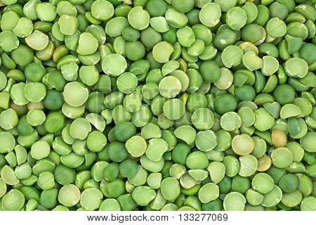 A very close view of organic green split peas.