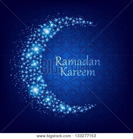 Ramadan kareem. Ramadan background design vector illustration. Ramadan greeting card poster flyer backdrop. Beautiful glowing moon and sparkles background.