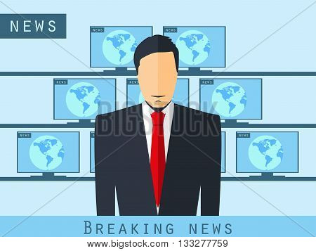 Anchorman Sitting At The Desk. Breaking News, Studio Reporter. Anchorman Broadcast News. The News An
